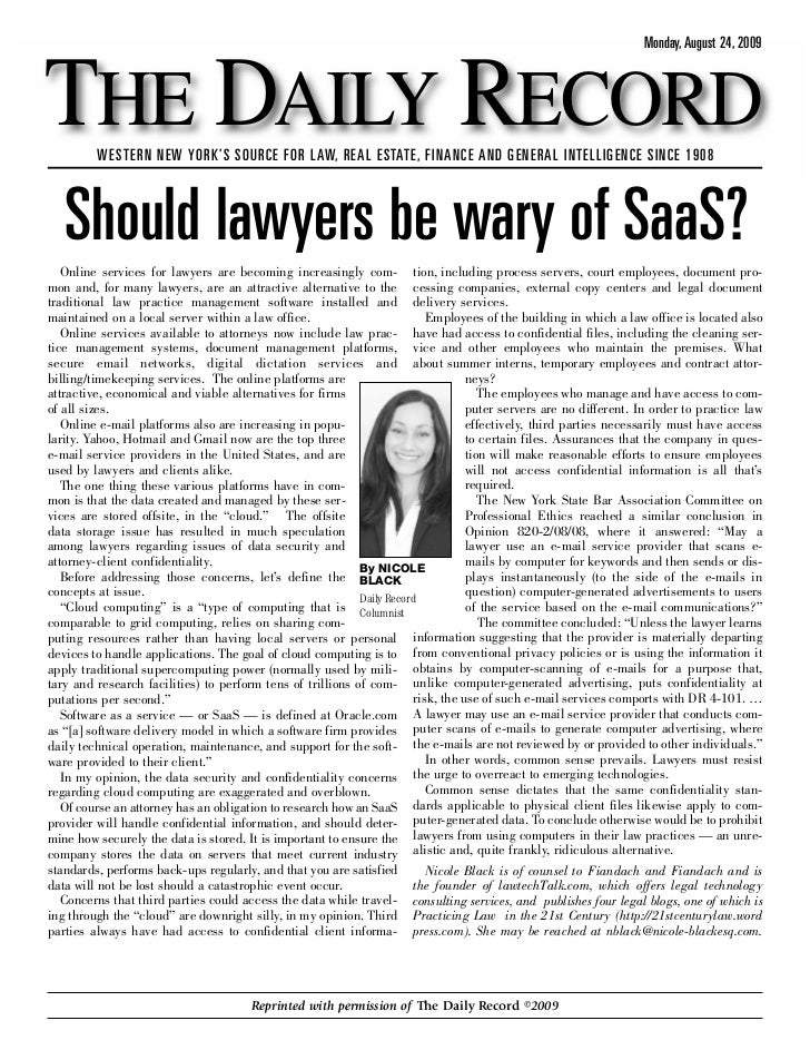 Should Lawyers be Wary of Cloud Computing?