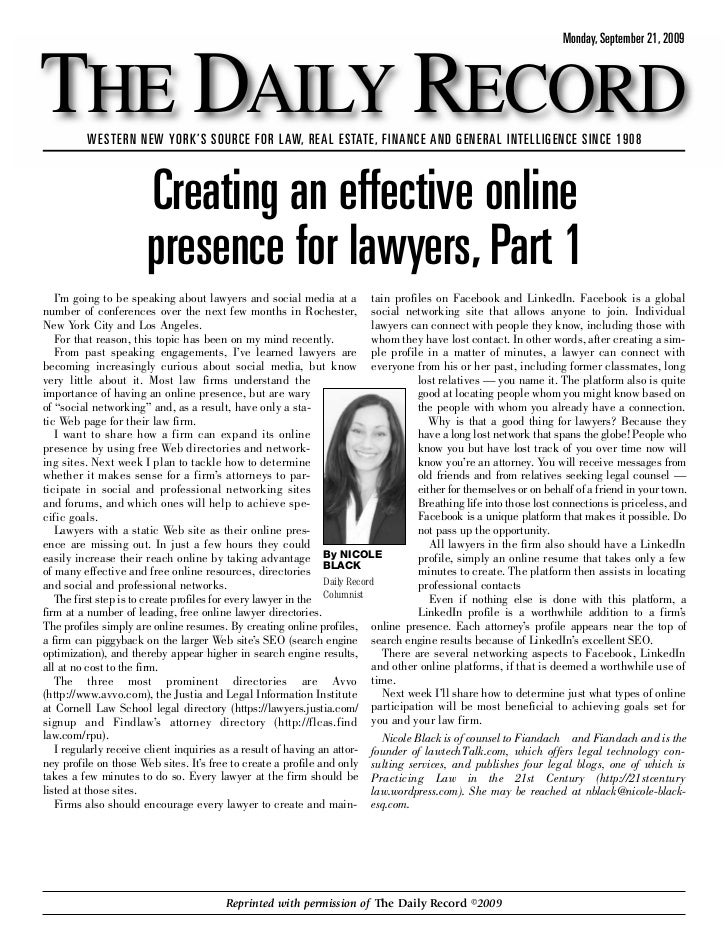 Monday, September 21, 2009    THE DAILY RECORD          WESTERN NEW YORK'S SOURCE FOR LAW, REAL ESTATE, FINANCE AND GENERA...