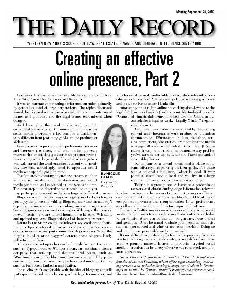 Creating an Effective Online Presence: Part 2