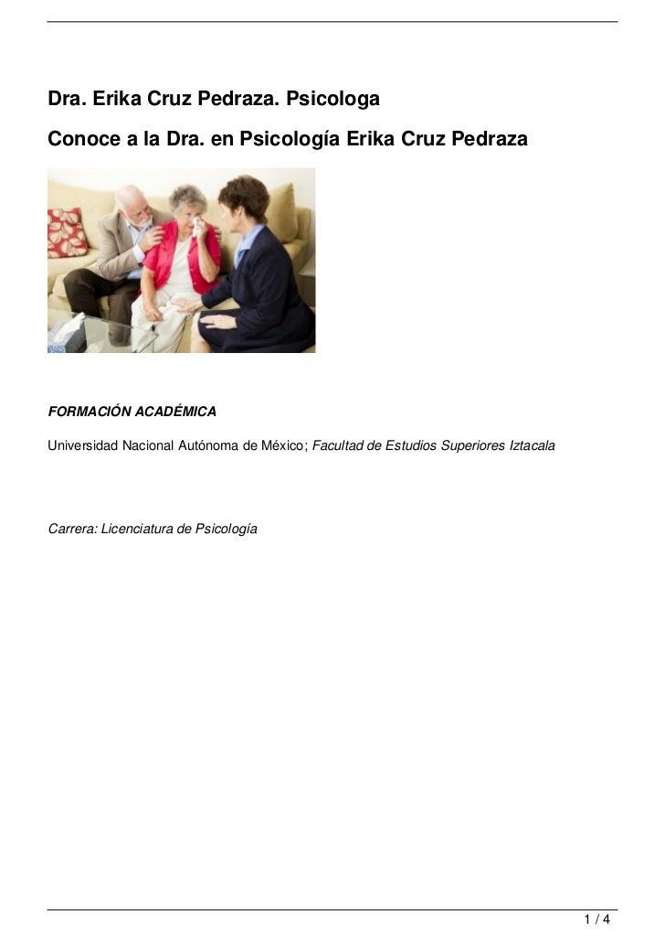 Dra. Erika Cruz Pedraza. Psicologa