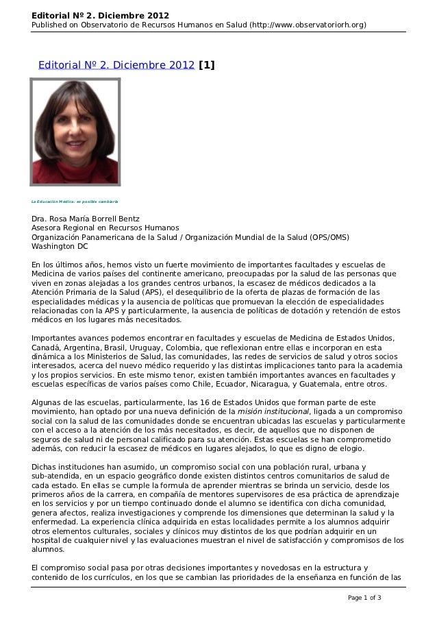 Editorial Nº 2. Diciembre 2012Published on Observatorio de Recursos Humanos en Salud (http://www.observatoriorh.org)   Edi...