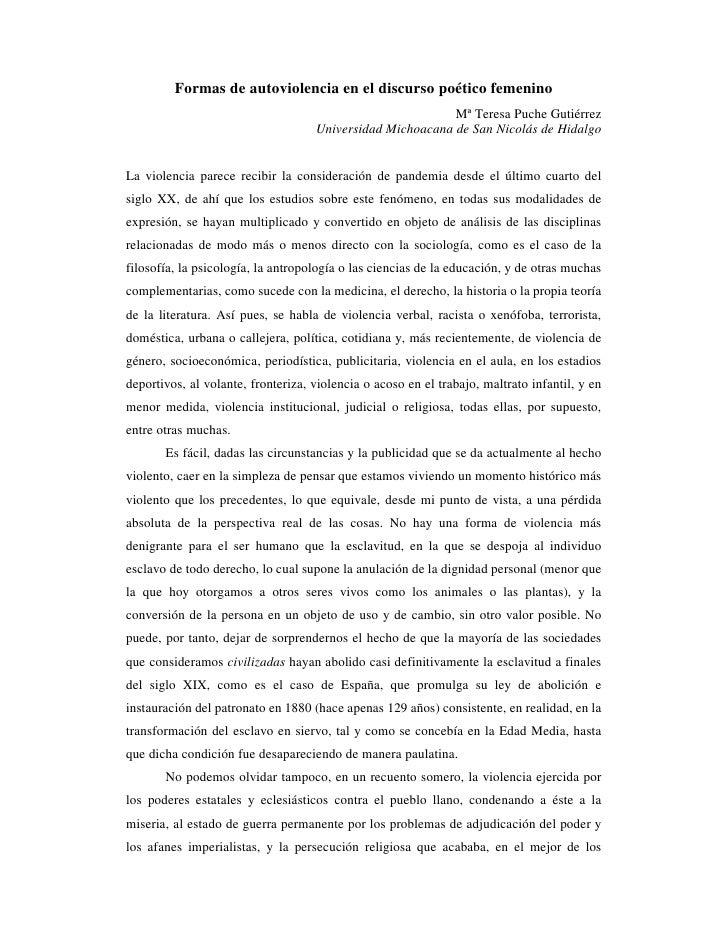 Formas de autoviolencia en el discurso poético femenino                                                            Mª Tere...
