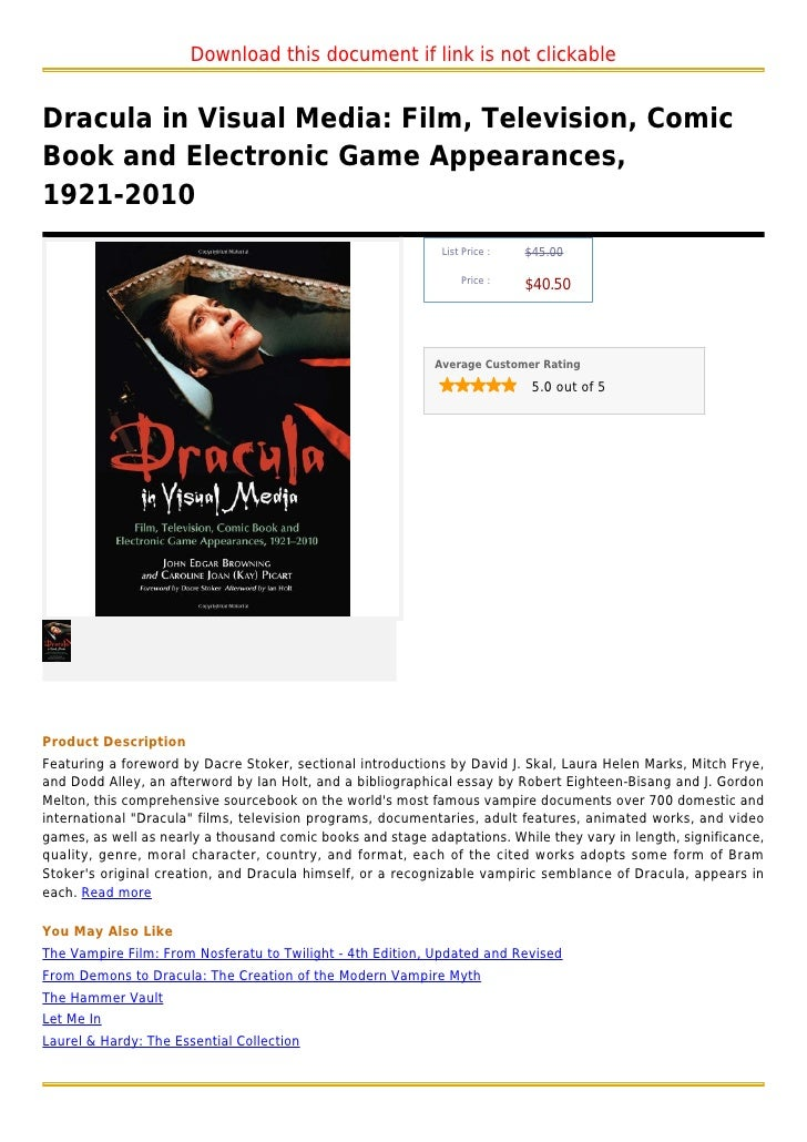 Dracula in visual media  film, television, comic book and electronic game appearances, 1921 2010