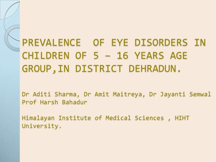 PREVALENCE  OF EYE DISORDERS IN CHILDREN OF 5 – 16 YEARS AGE GROUP,IN DISTRICT DEHRADUN.Dr Aditi Sharma, Dr Amit Maitreya,...