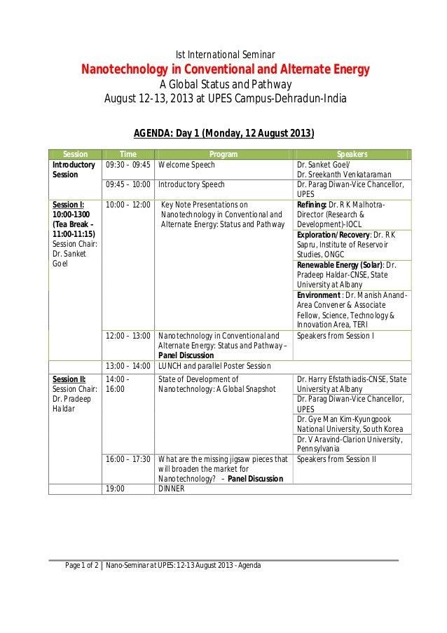 Nanotechnology in Conventional & Alternate Energy - Draft agenda.