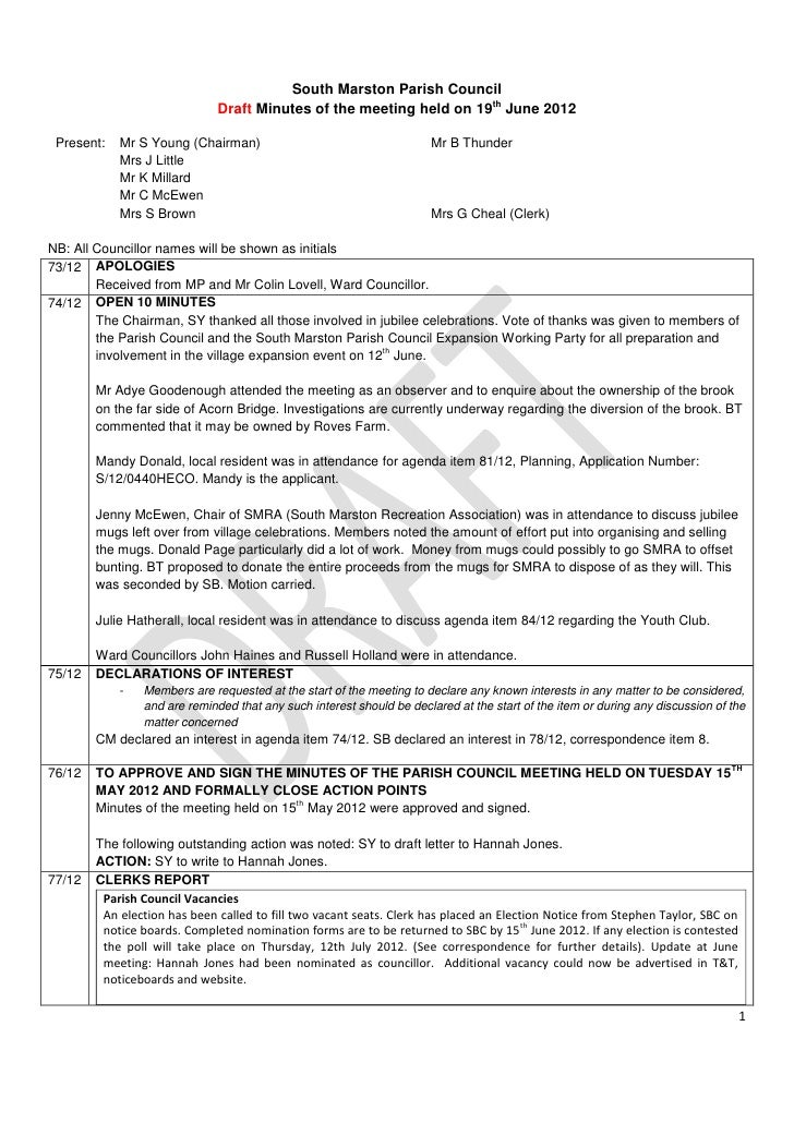 South Marston Parish Council                              Draft Minutes of the meeting held on 19th June 2012 Present:   M...