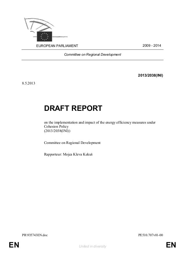 Draft report on the implementation and impact of the energy efficiency measures under cohesion policy