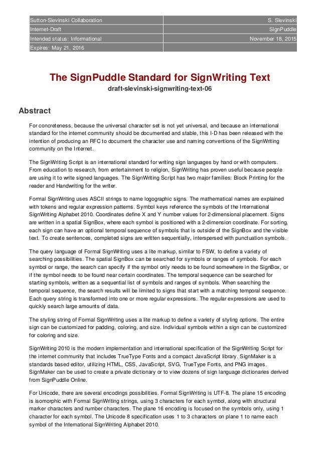 Sutton-Slevinski Collaboration S. Slevinski Internet-Draft SignPuddle Intended status: Informational May 2015 Expires: Nov...
