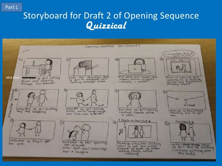 Part L           Storyboard for Draft 2 of Opening Sequence                         QuizzicalMid Shot