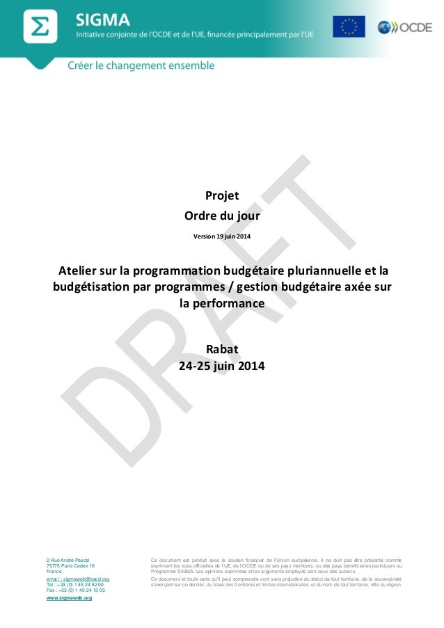 SIGMA atelier sur la programmation budgétaire pluriannuelle, projet d'agenda, 24-25 juin 2014_vs 19 June 14_français