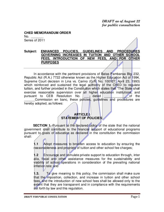 DRAFT as of August 22                                                        for public consultationCHED MEMORANDUM ORDERN...
