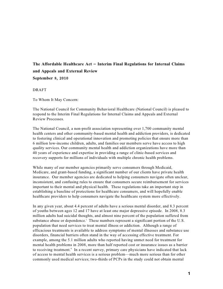 Draft comments on external appeals