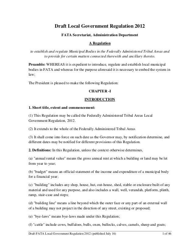 Draft Local Government Regulation 2012                       FATA Secretariat, Administration Department                  ...