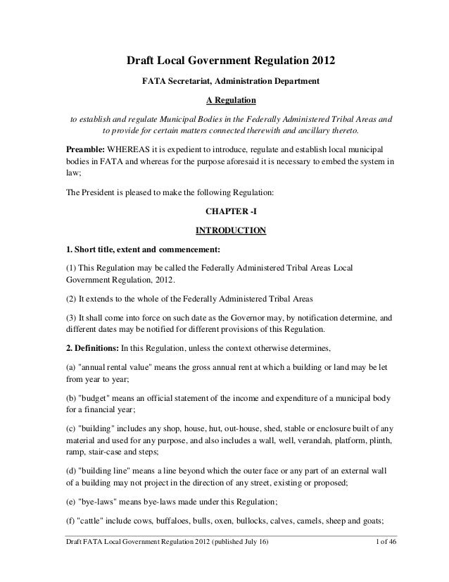 Draft #1 FATA Local Government Regulation (July 2012, FATA Secretariat)