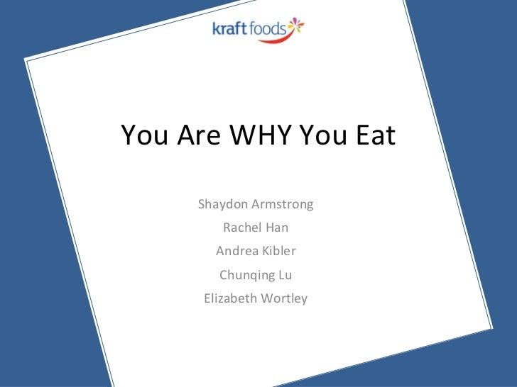 You Are WHY You Eat <ul><li>Shaydon Armstrong </li></ul><ul><li>Rachel Han </li></ul><ul><li>Andrea Kibler </li></ul><ul><...