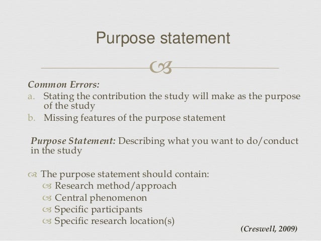 Dissertation Proposal Purpose Statement