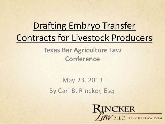 Drafting Embryo Transfer Contracts for Livestock Producers