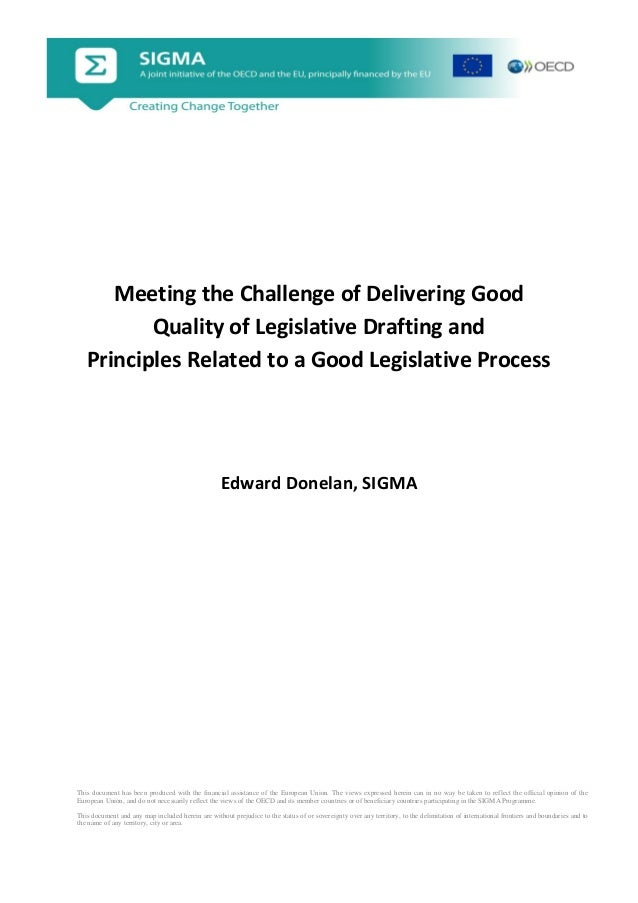 Donelan - Meeting the Challenge of Delivering Good Quality of Legislative Drafting and Principles Related to a Good Legislative Process_English
