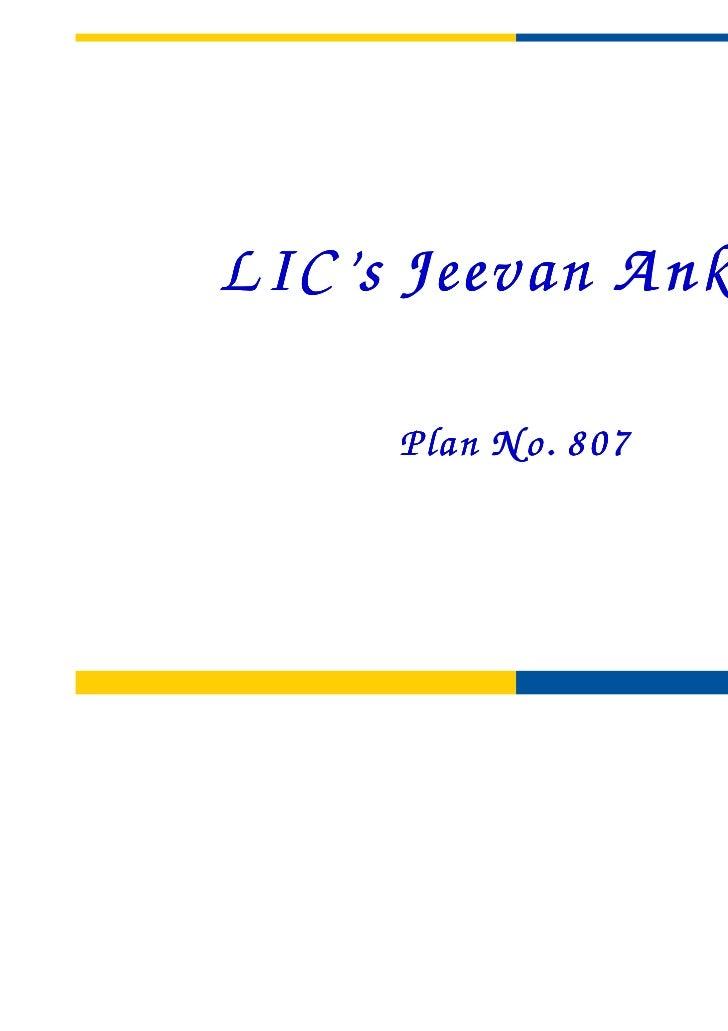 LIC's Jeevan A nkur     Plan N o. 807
