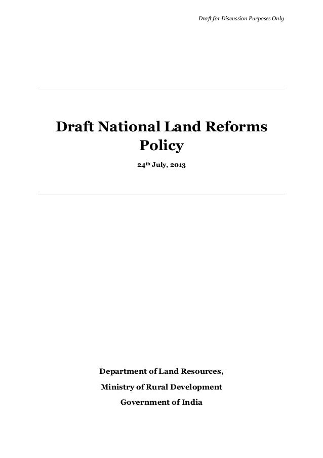Draft National Land Reforms Policy