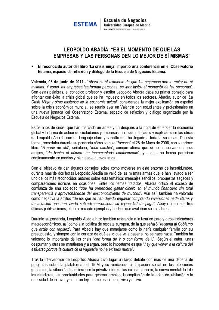 NOTA PRENSA LEOPOLDO ABADIA ESTUVO EN OBSERVATORIO ESTEMA