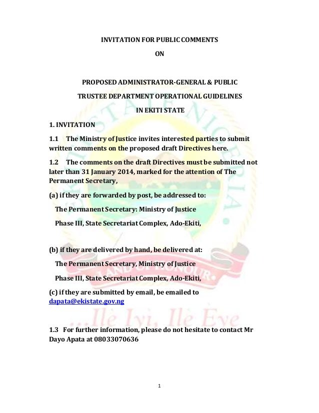 INVITATION FOR PUBLIC COMMENTS ON  PROPOSED ADMINISTRATOR-GENERAL & PUBLIC TRUSTEE DEPARTMENT OPERATIONAL GUIDELINES IN EK...