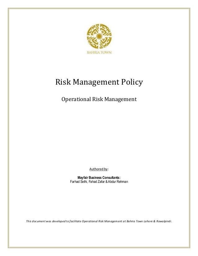 Risk Management Policy                         Operational Risk Management                                             Aut...