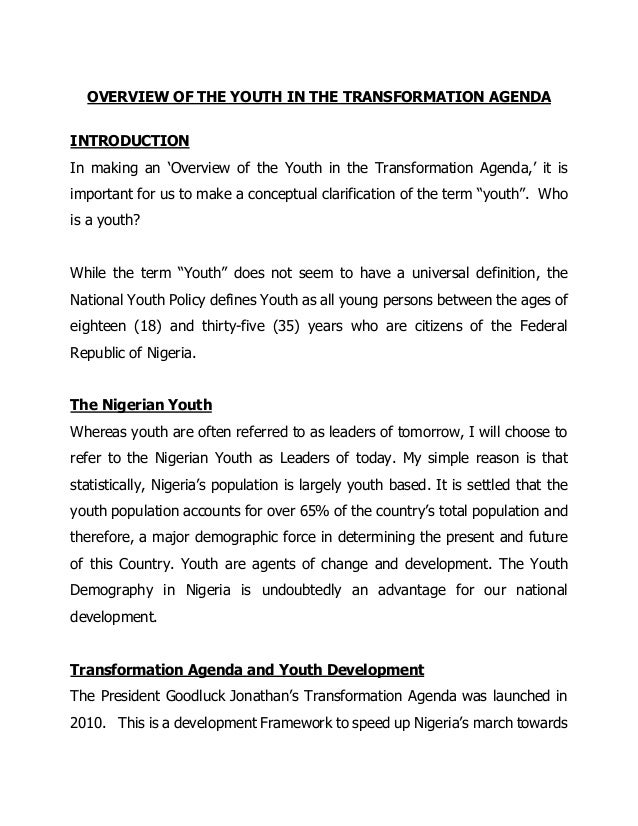 OVERVIEW OF THE YOUTH IN THE TRANSFORMATION AGENDA INTRODUCTION In making an 'Overview of the Youth in the Transformation ...