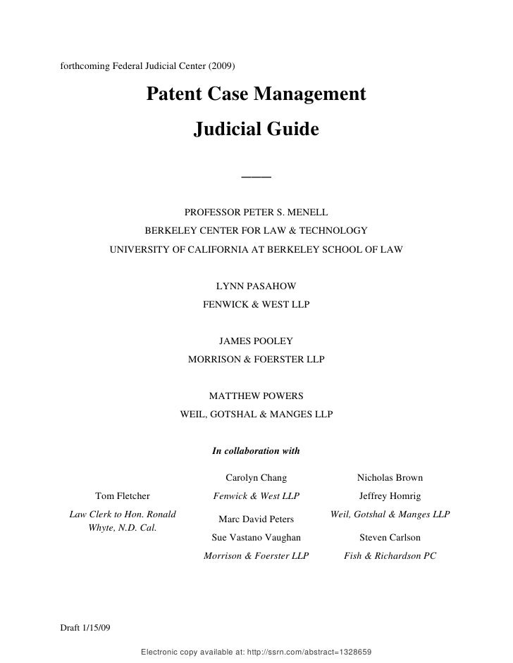 2009 BIOL503 Class 8 Supporting document: Draft Patent Case Management Federal Judicial Center 2009 SSRN ID1328659