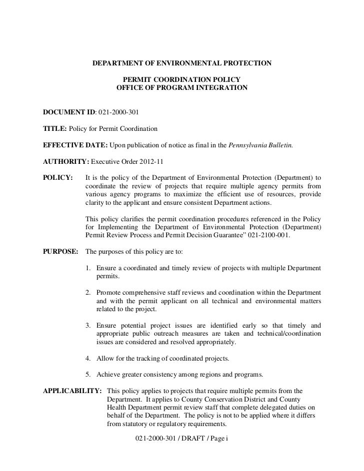 DEPARTMENT OF ENVIRONMENTAL PROTECTION                        PERMIT COORDINATION POLICY                       OFFICE OF P...