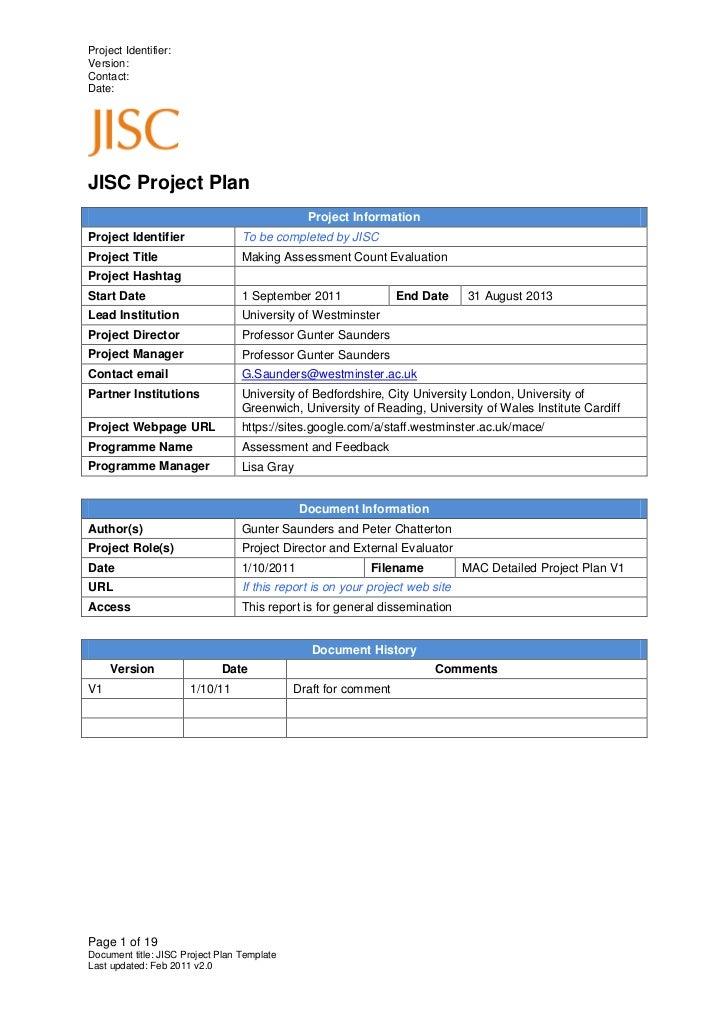 Project Identifier:Version:Contact:Date:JISC Project Plan                                               Project Informatio...