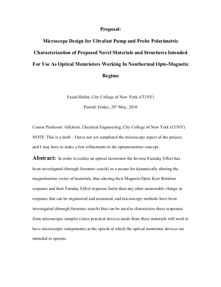Proposal:        Microscope Design for Ultrafast Pump and Probe Polarimetric  Characterization of Proposed Novel Materials...