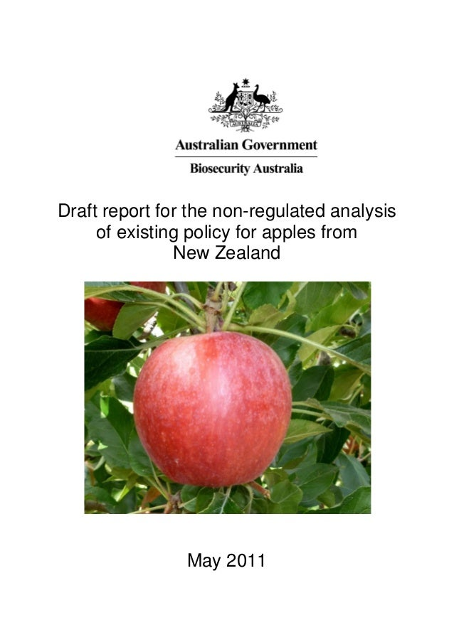 Draft report for the non-regulated analysis     of existing policy for apples from               New Zealand              ...