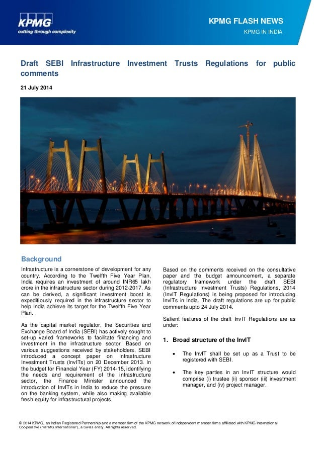 Draft SEBI Infrastructure Investment Trusts Regulations for public comments