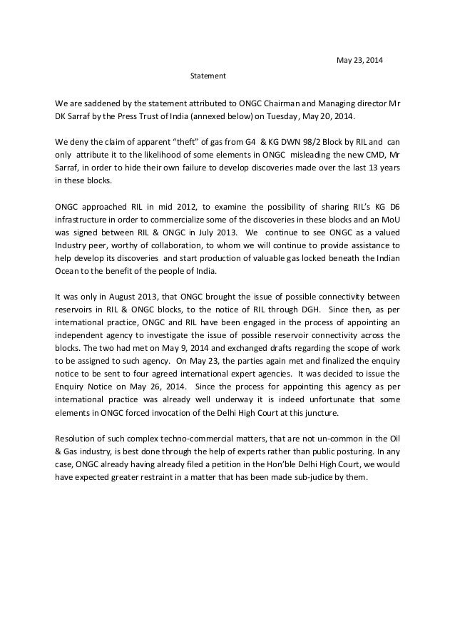 May 23, 2014 Statement We are saddened by the statement attributed to ONGC Chairman and Managing director Mr DK Sarraf by ...