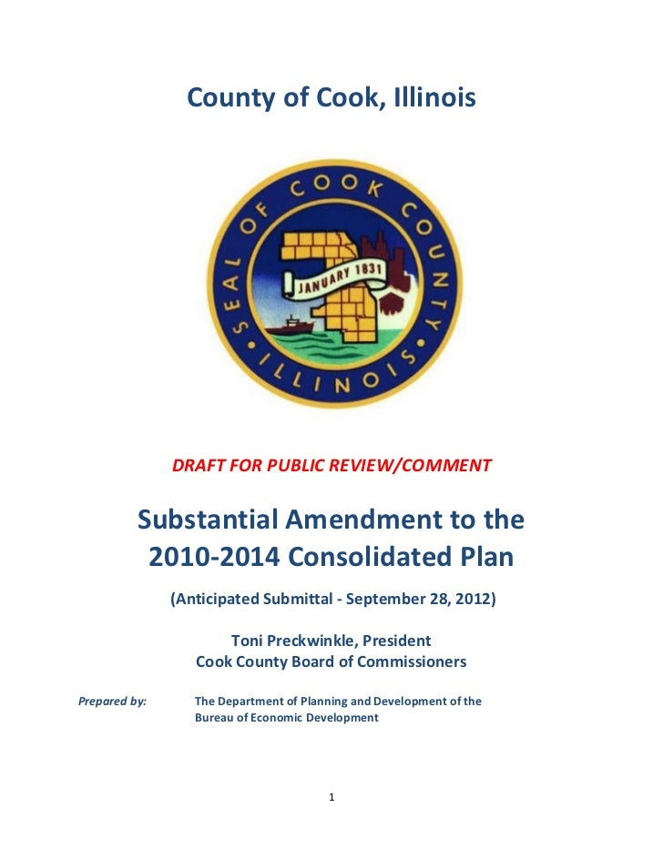 Draft Substantial Amendment 2010-2014 Consolidated Plan, Cook County IL