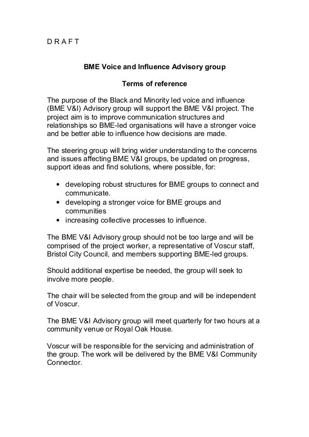 D R A F T BME Voice and Influence Advisory group Terms of reference The purpose of the Black and Minority led voice and in...