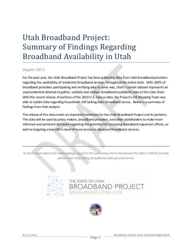 Summary of Findings Regarding Broadband Availability in Utah
