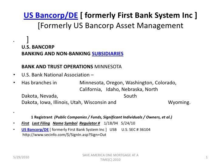 Draft Us Bank Sec 10 K History