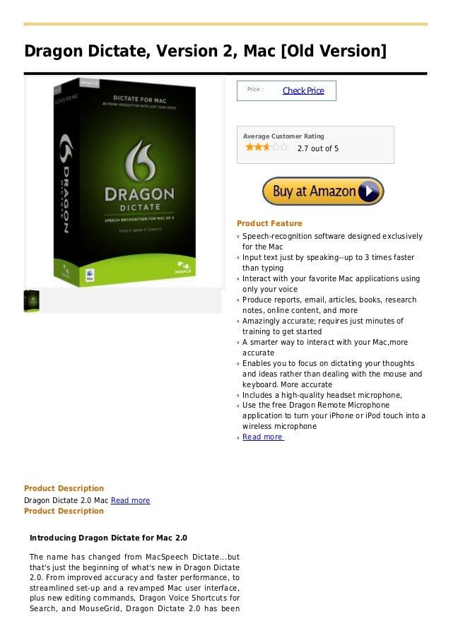 Dragon Dictate, Version 2, Mac [Old Version]                                                              Price :         ...