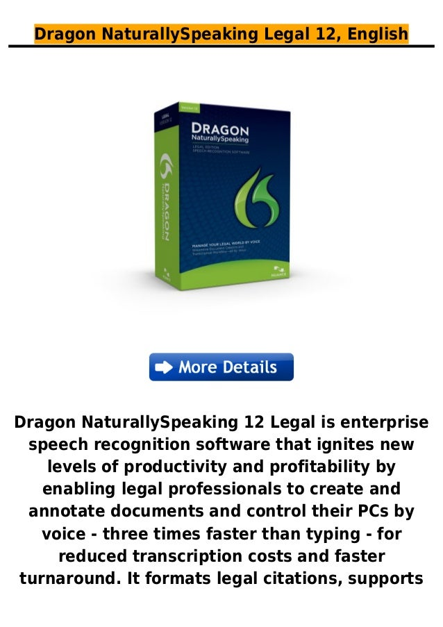 Dragon naturally speaking legal 12, english