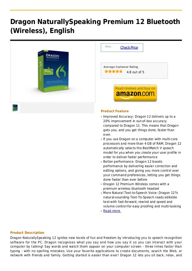 Dragon NaturallySpeaking Premium 12 Bluetooth(Wireless), English                                                          ...