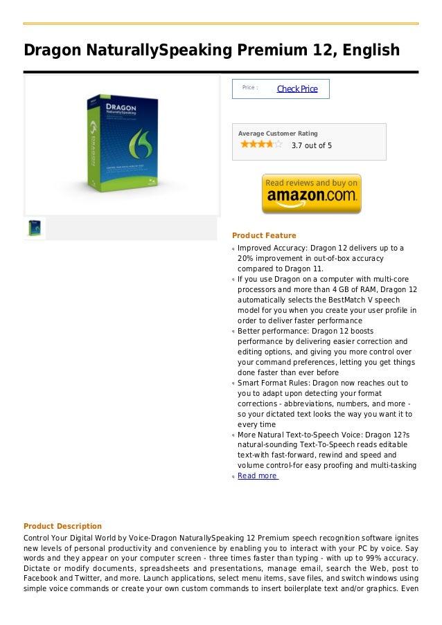 Dragon NaturallySpeaking Premium 12, English                                                              Price :         ...