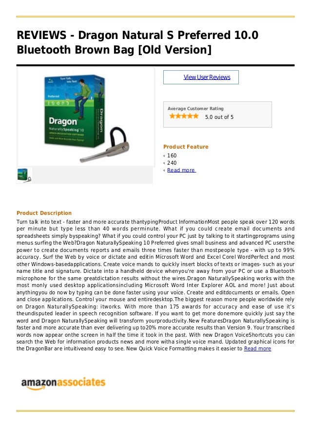 REVIEWS - Dragon Natural S Preferred 10.0Bluetooth Brown Bag [Old Version]ViewUserReviewsAverage Customer Rating5.0 out of...