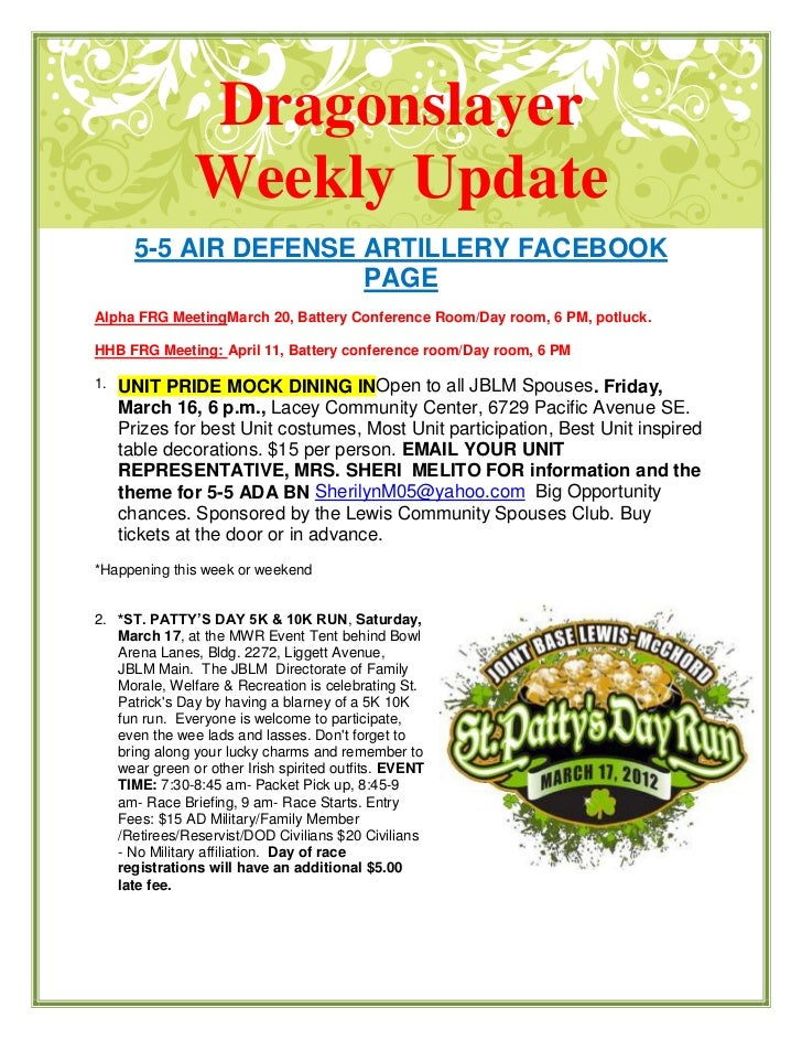 Dragonslayer               Weekly Update       5-5 AIR DEFENSE ARTILLERY FACEBOOK                       PAGEAlpha FRG Meet...