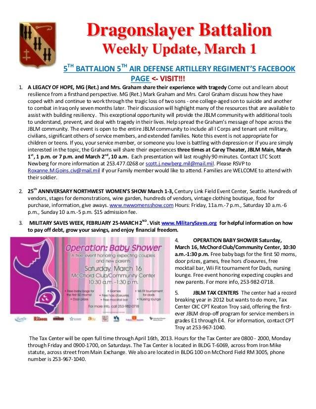 Dragonslayer Battalion                                    Weekly Update, March 1                    5TH BATTALION 5TH AIR ...