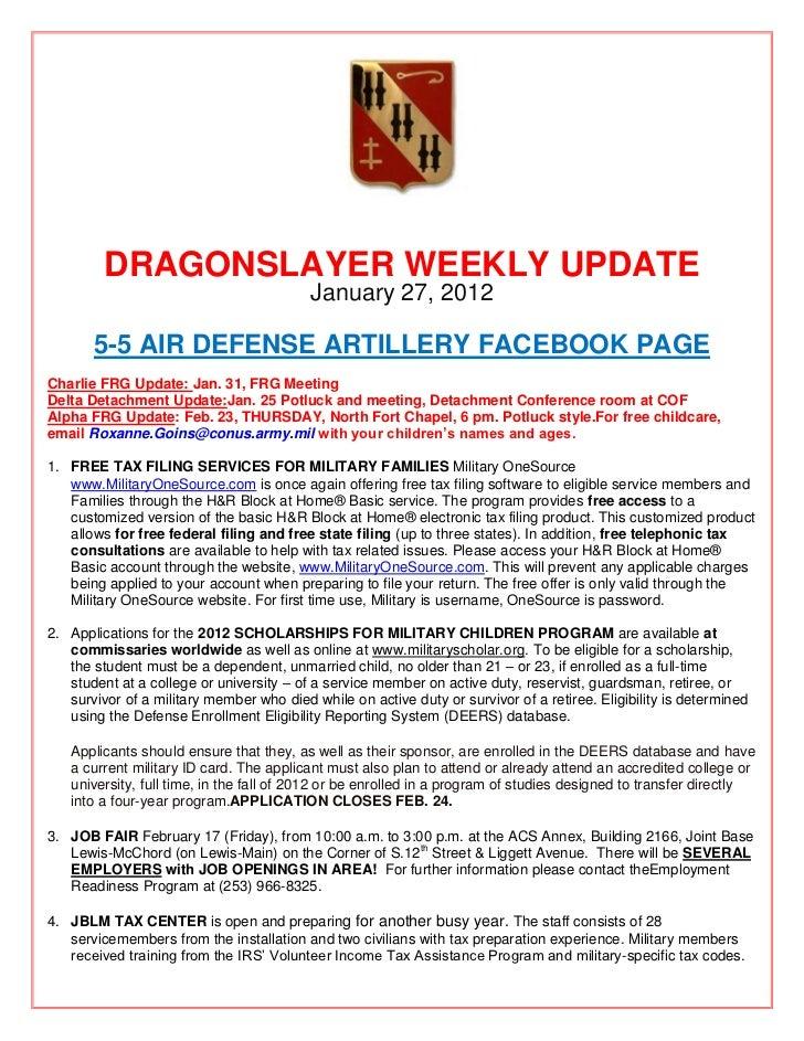 DRAGONSLAYER WEEKLY UPDATE                                          January 27, 2012       5-5 AIR DEFENSE ARTILLERY FACEB...