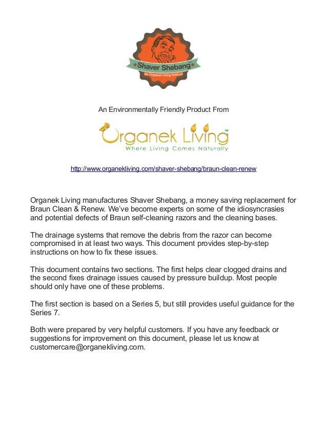 An Environmentally Friendly Product From http://www.organekliving.com/shaver-shebang/braun-clean-renew Organek Living manu...