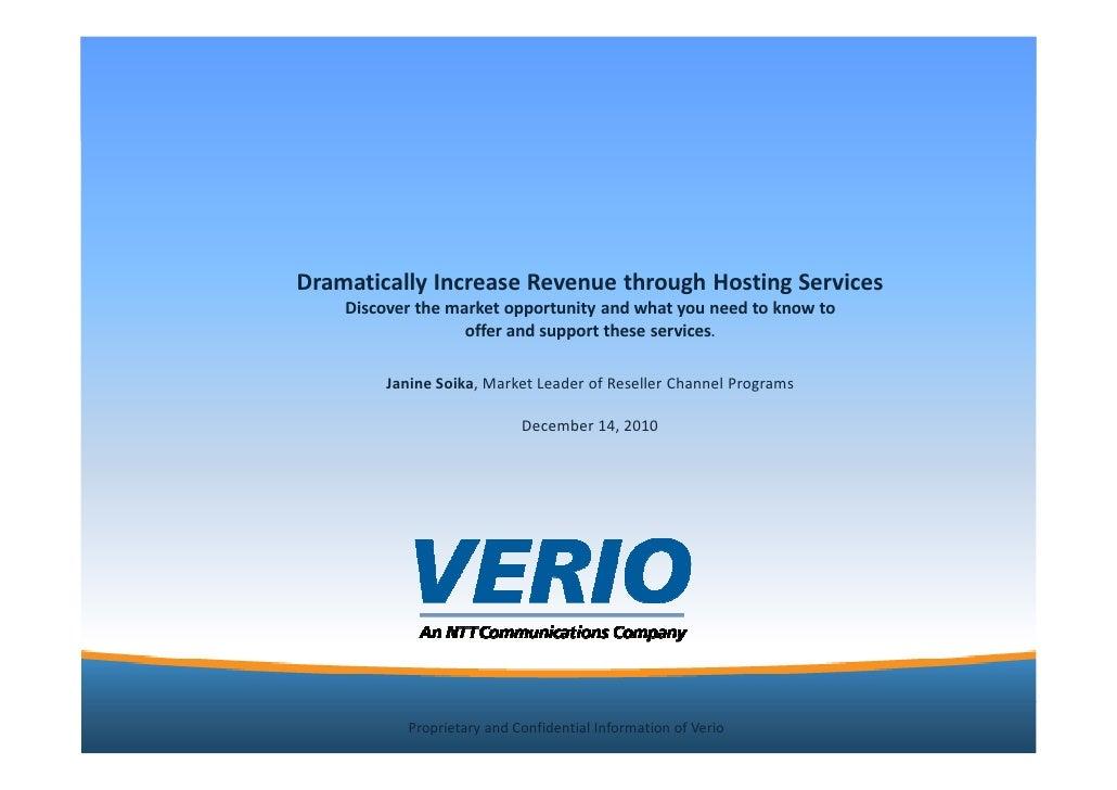 Dramatically increase revenue on verio template