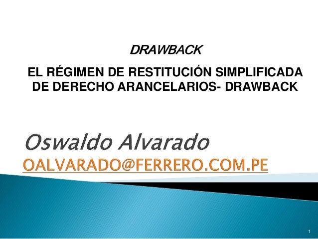 DRAWBACK EL RÉGIMEN DE RESTITUCIÓN SIMPLIFICADA DE DERECHO ARANCELARIOS- DRAWBACK  1